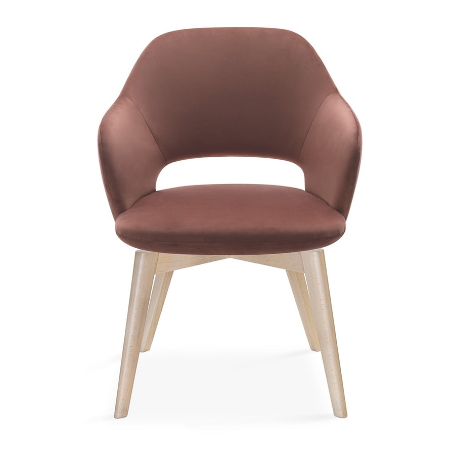 Vivian armchair, Armchair available with different wooden bases
