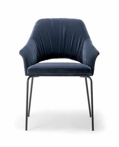 WINGS SIDE CHIAR WITH METAL BASE 076 POL, Modern upholstered armchair