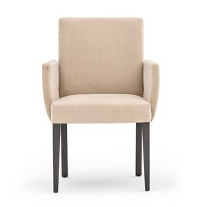 Zenith 01631, Armchair with arms with wooden frame, upholstered seat and back, for contract use