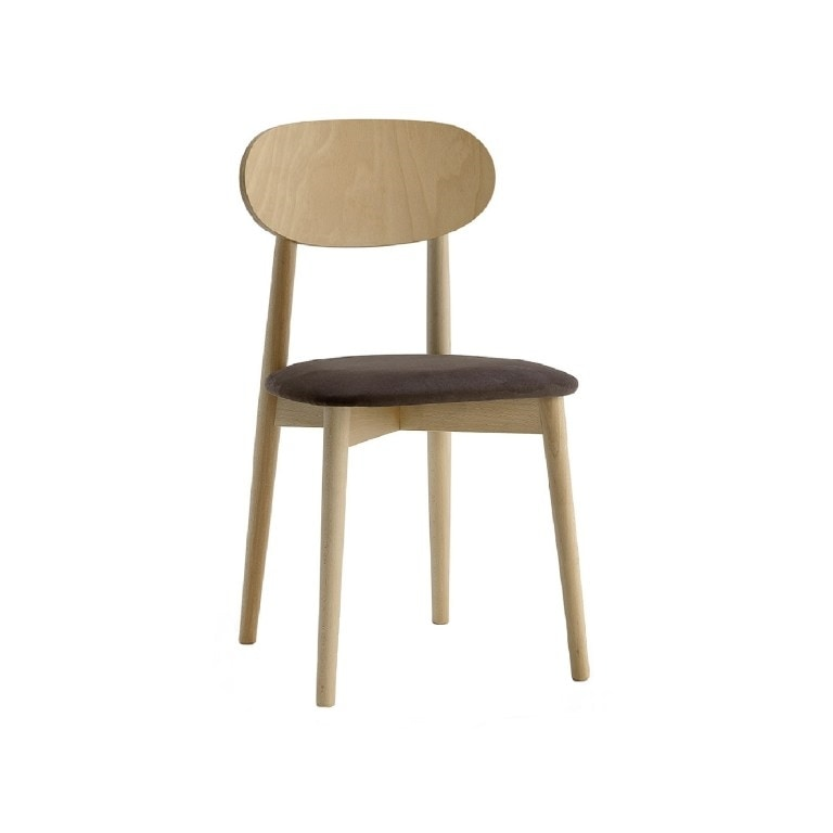 371, Wooden chair, padded seat