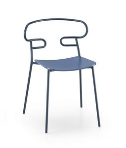 ART. 0047-MET -GENOA, Chair with wooden seat and perforated back