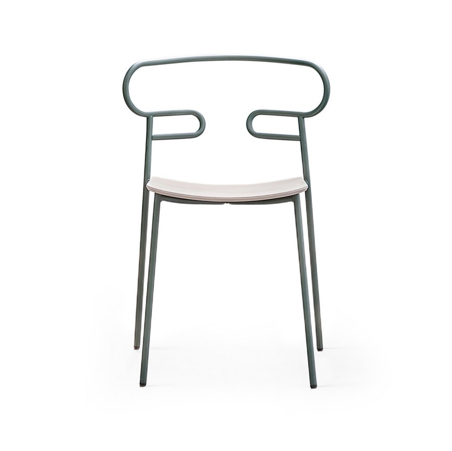 ART. 0047-MET GENOA, Chair with wooden seat and perforated back