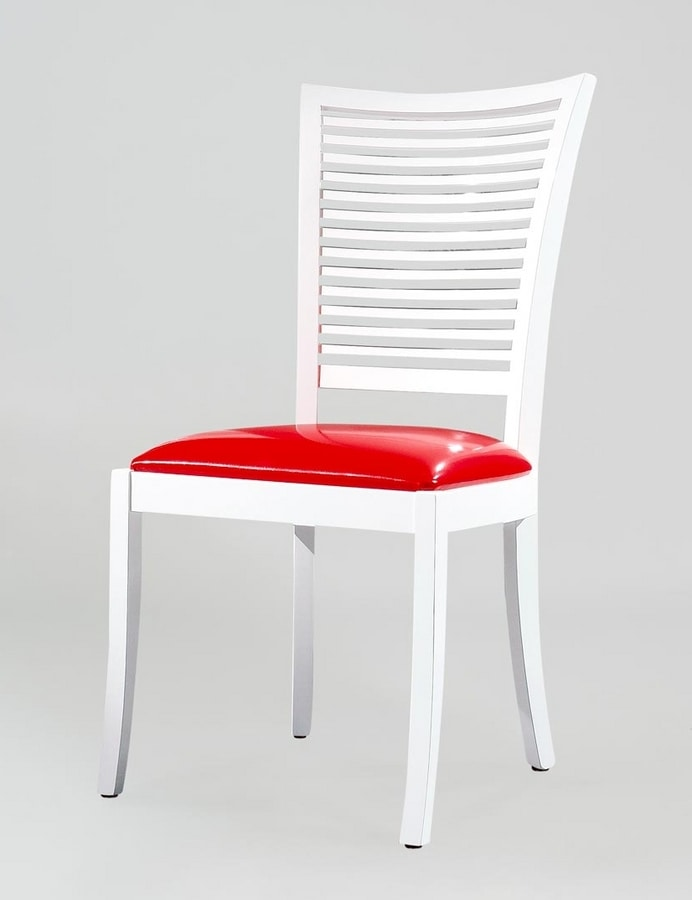 BS220S - Chair, Wooden chair with leather seat