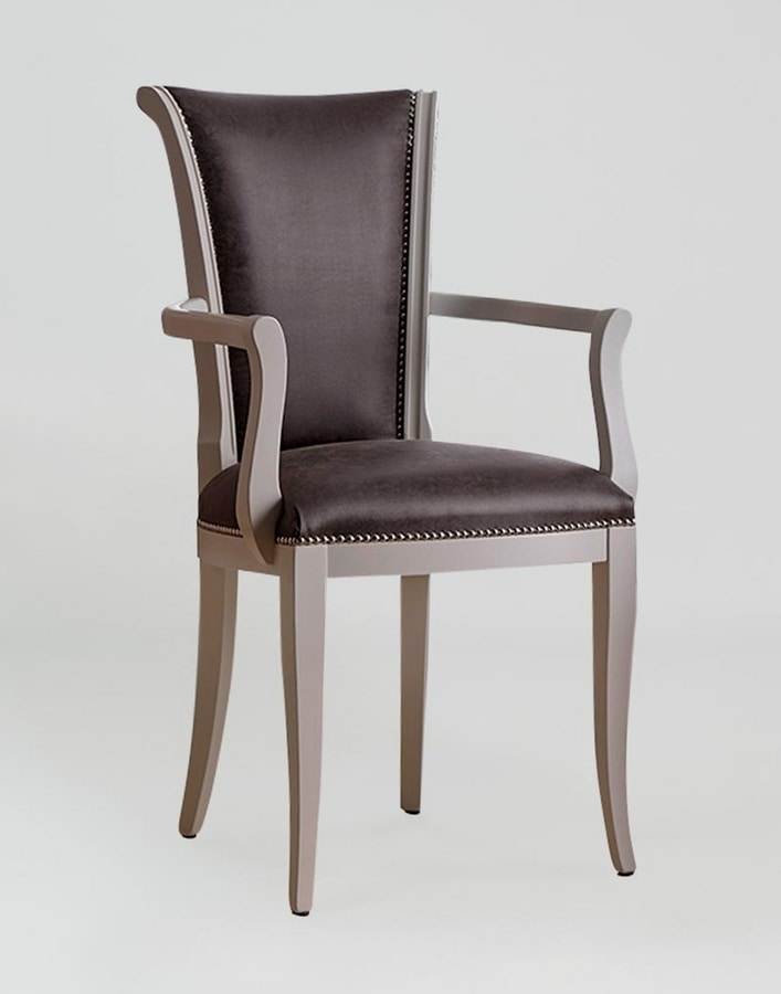 BS376A - Chair, Wood and leather chair