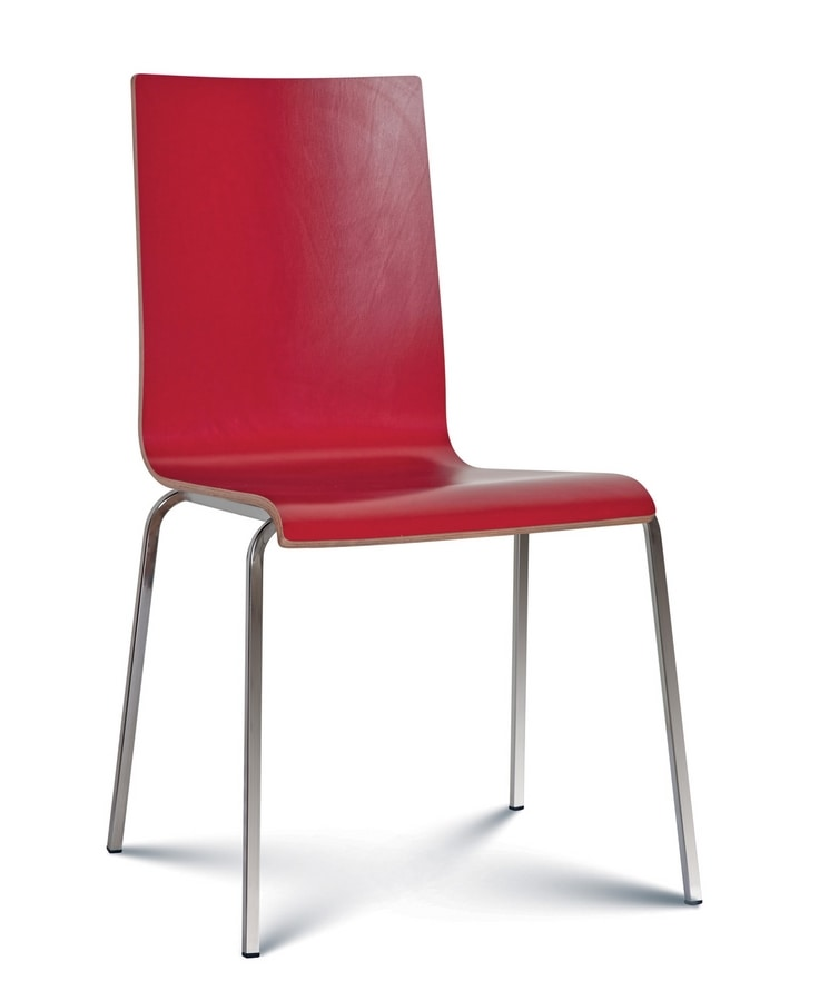 Caprice wood, Stackable chair with wooden shell