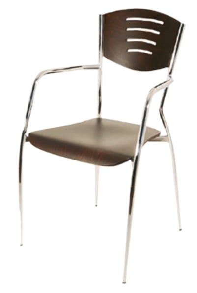 PL 103, Wooden chair with chromed metal legs