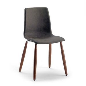 Scacco W, Stackable chair with wooden legs
