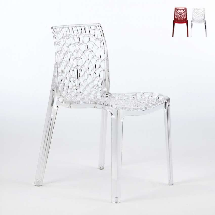 Transparent polycarbonate chairs kitchen bar GRUVYER Grand Soleil - S6316TR, Kitchen chair in transparent polycarbonate