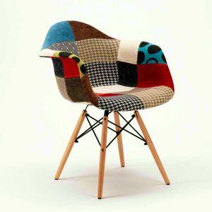 Wooden chairs daw PATCHWORK wood ideal for home bar lounge and pub - SP620PPP, Patchwork chair in wood and fabric