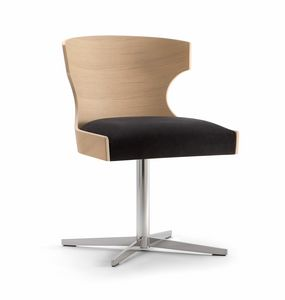 XIE SIDE CHAIR 052 S X, Chair with cross base, upholstered seat
