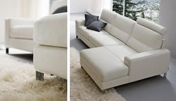 Alex, Elegant sofa upholstered with polyurethane, for Stands