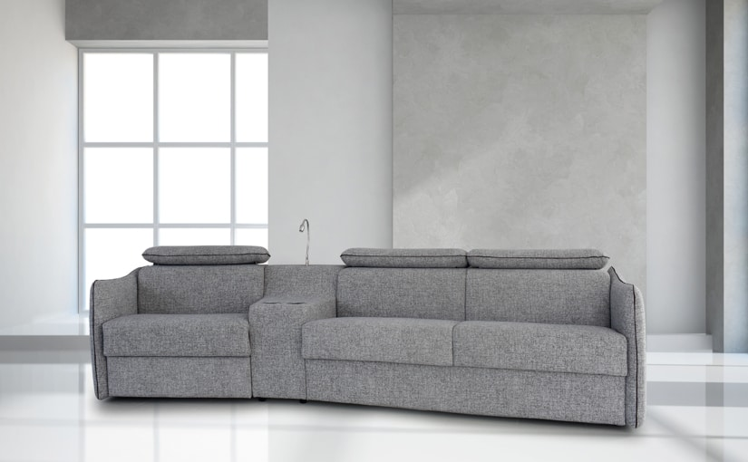 Alfred, Modern sofa with many accessories