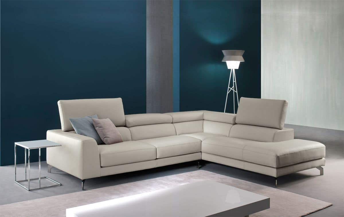 Leather sofa with relax mechanism for modern living rooms for Salotti moderni design
