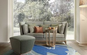 Aston sofa, Two seater sofa with solid wood base