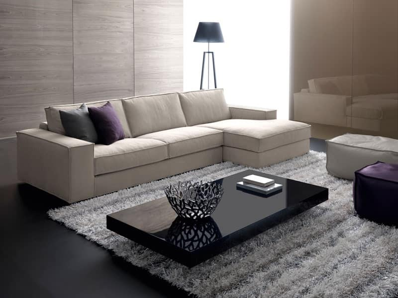 Avenue, Modular sofa with wooden frame, for elegant stand