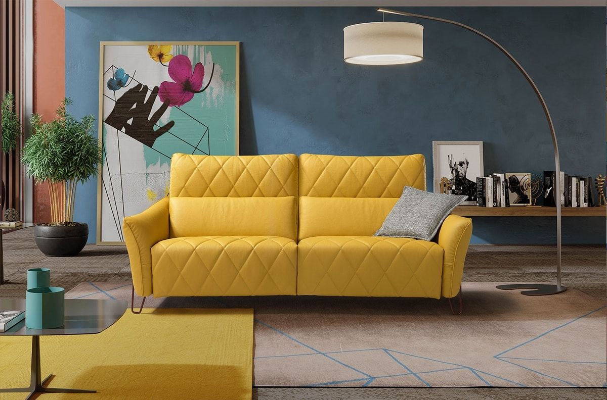 Axelle, Sofa with elegant rhomboid quilting