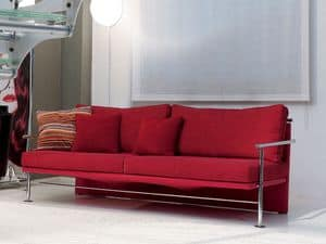 Block, Elegant sofa with iron visible frame, for office