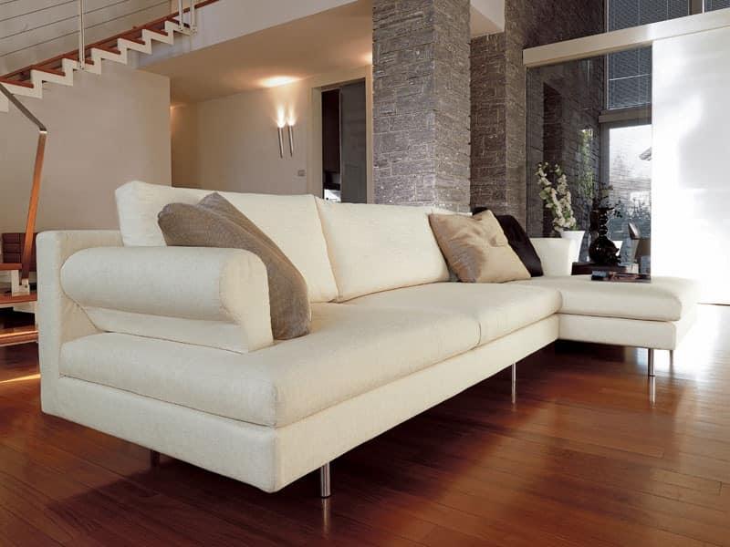 Brera corner, Modern sofa with peninsula, chromed feet, for living room