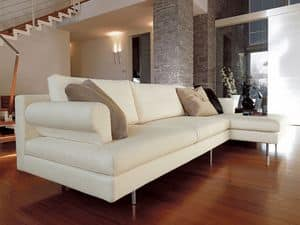 Brera corner, Modern sofa with peninsula, chromed feet, for living room