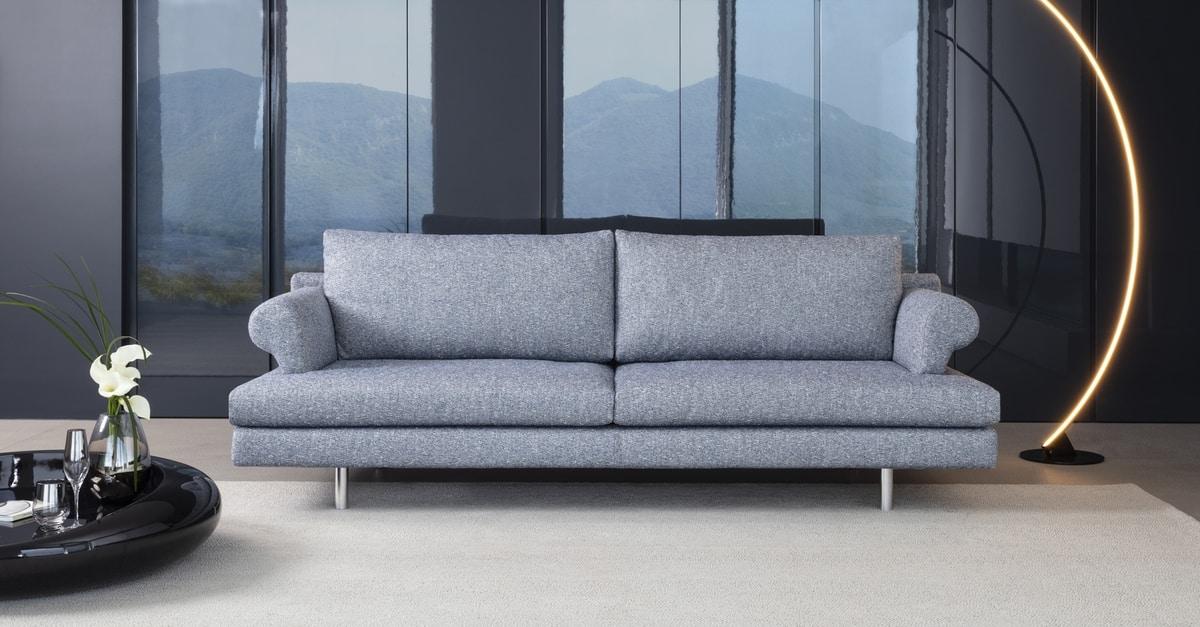 Brera, Sofa upholstered in polyurethane, wooden frame