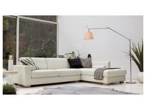 Brug corner, Elegant angular sofa in polyurethane, wood feet