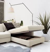 Brug corner, Elegant angular sofa in polyurethane, wood feet