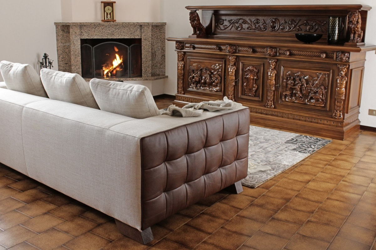 Brunelleschi, Glamor sofa with leather and fabric upholstery