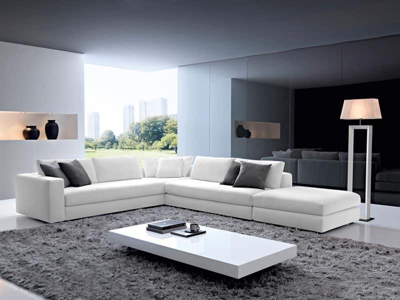City, Corner sofa, non-deformable padding, for living room