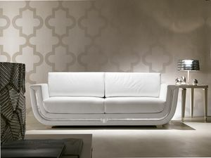 Dahlia 366D, White leather sofa
