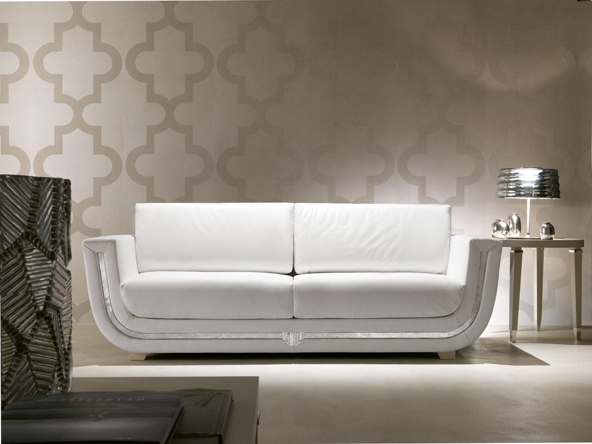 Dahlia 366D, White leather sofa