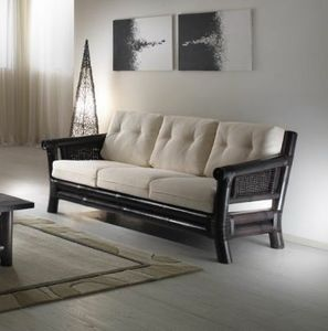 Divano Osaka black, 3-seater ethnic sofa with armrests