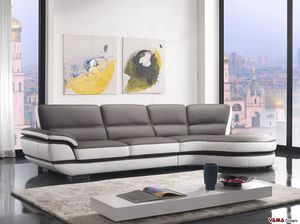Eliot, Leather sofa with a 60-degree rounded corner