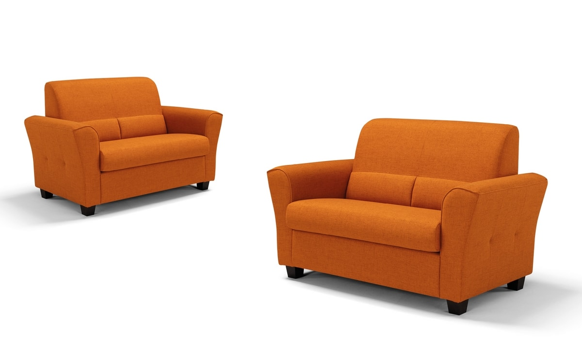 Ermes, Two seater sofa in fabric