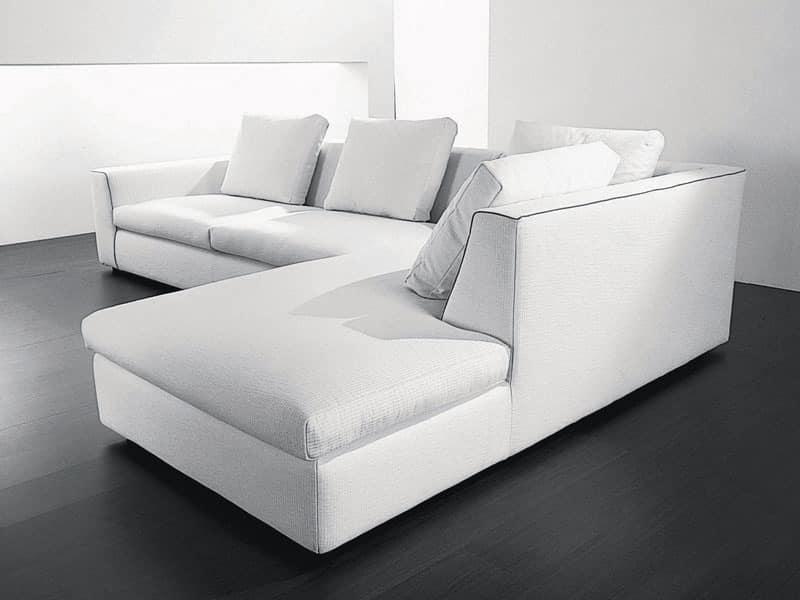 Free corner, Corner sofa in wood, polyurethane and acrylic fibers