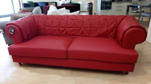 Gaia sofa, Red leather sofa