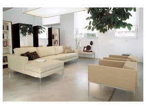 Ginger corner, Modular sofa, polished chrome foot for offices and homes