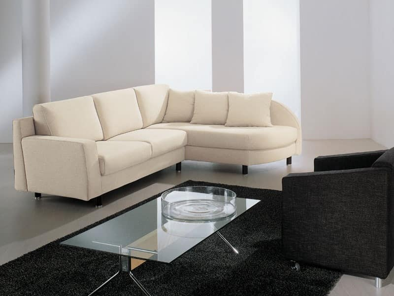 Incontro corner, Sofa in polyurethane, covered with dacron, for hotel