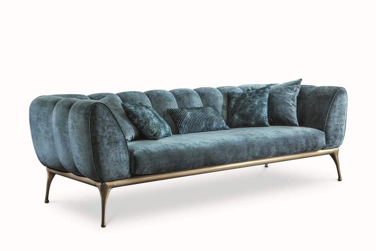 Iseo sofa, Sofa with aluminum frame, padded in rubber