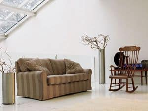Kent, Sofa made of solid wood, with backrest in feather