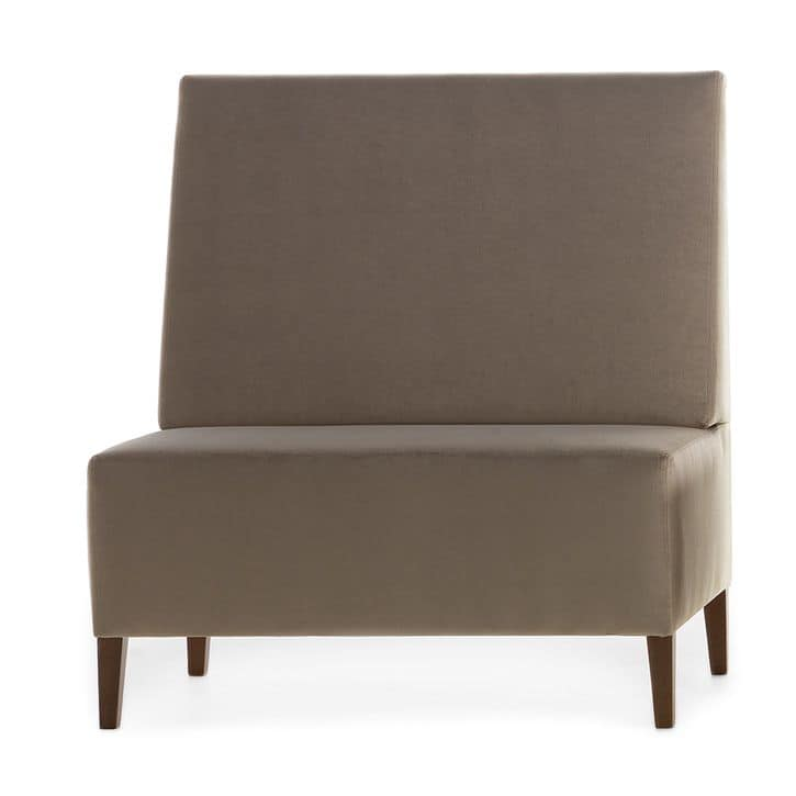 Linear 02451, Modular high bench, wooden feet, upholstered seat and back, fabric cover, modern style