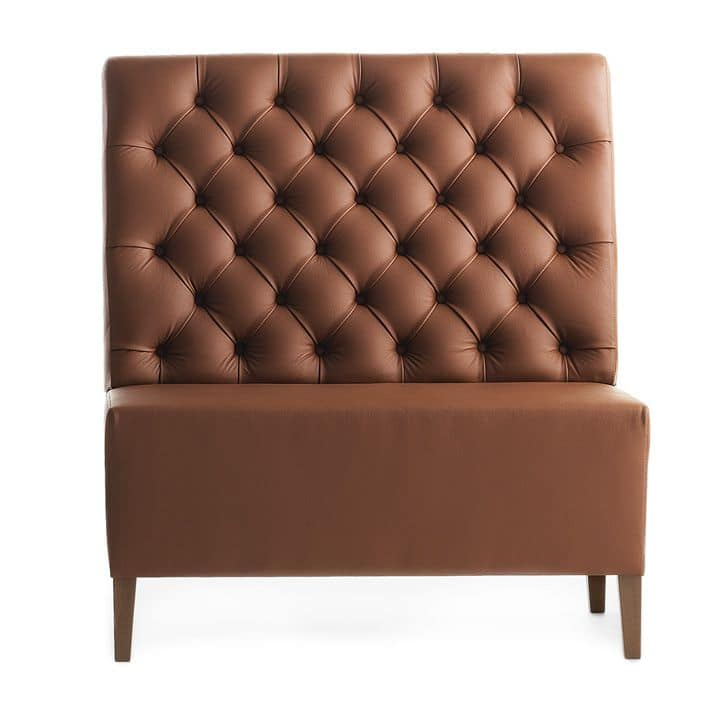 Linear 02451K, Modular high bench, wooden feet, capitonnè upholstered seat and back, leather covering, modern style