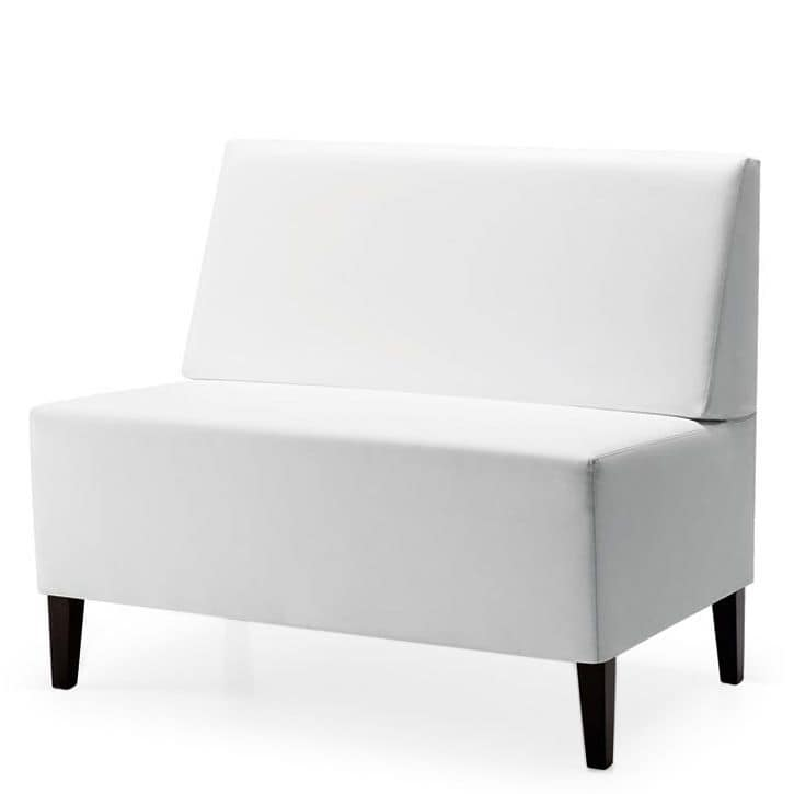 Linear 02452, Modular low bench, wooden feet, upholstered seat and back, fabric cover, modern style