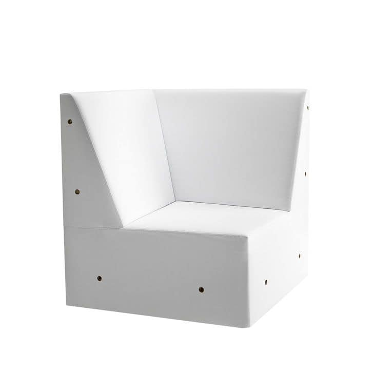 Linear 02456, Corner for low modular bench, feet solid wood, upholstered seat and back, wooden feet, modern style