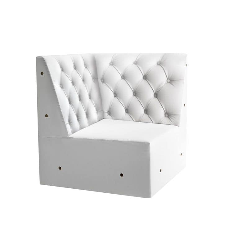 Linear 02456K, Corner bench modular low, feet solid wood, upholstered seat, tufted back, wooden feet, modern style