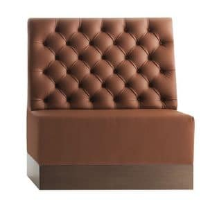 Linear 02481K, High modular bench, plinth in laminate, quilted back, leather covering, modern style