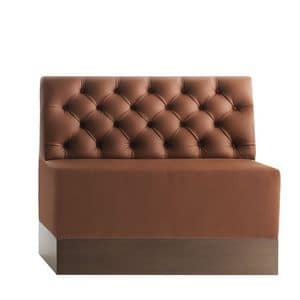 Linear 02482K, Modular low bench, laminated base, quilted back, leather covering, modern style