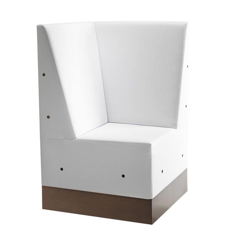 Linear 02485, Corner for modular high bench, laminate base, upholstered seat and back, modern style
