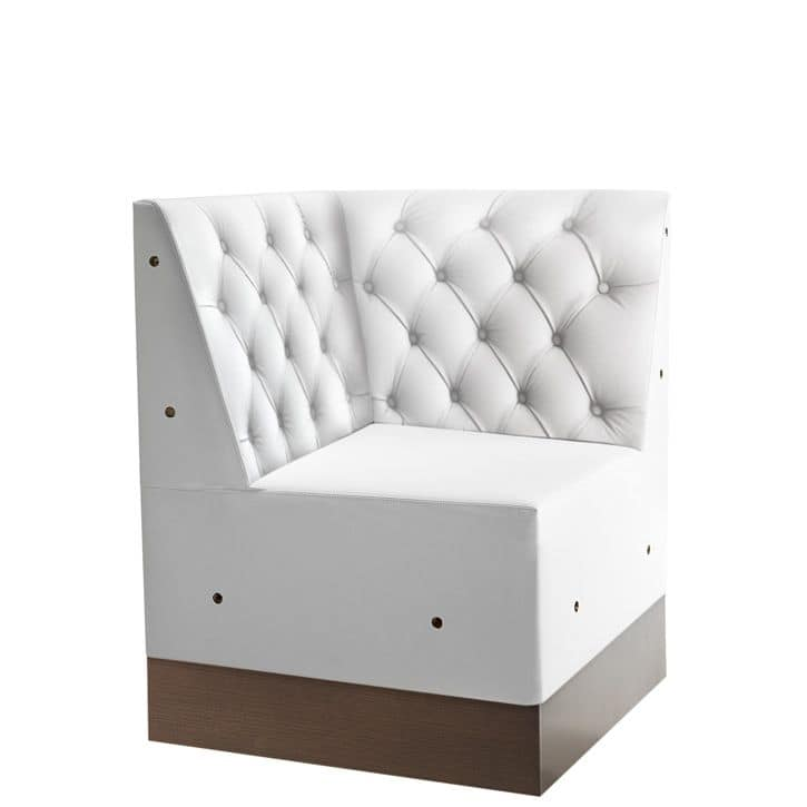 Linear 02486K, Corner for modular low bench, laminated base, quilted back, modern style