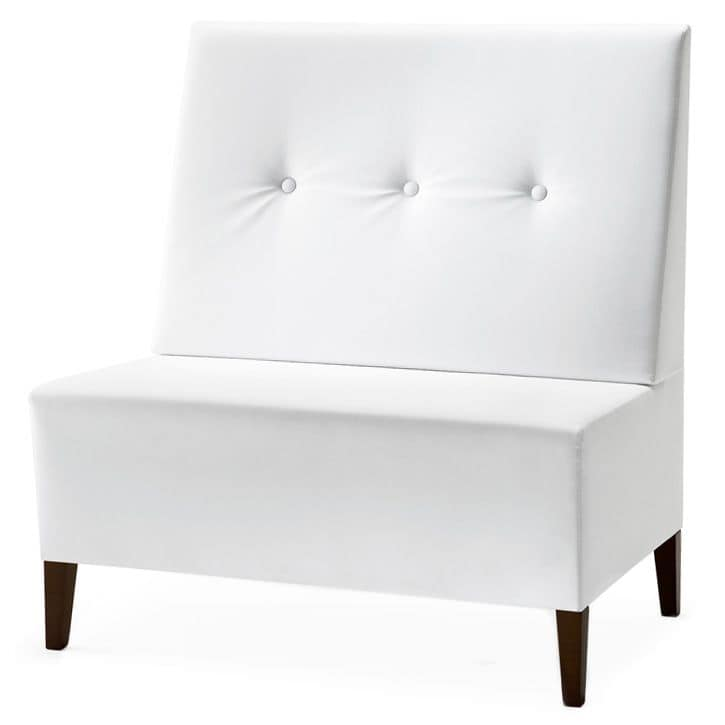 Linear 02951 - 02953, Modular high bench, wooden feet, upholstered seat and back, fabric cover, modern style