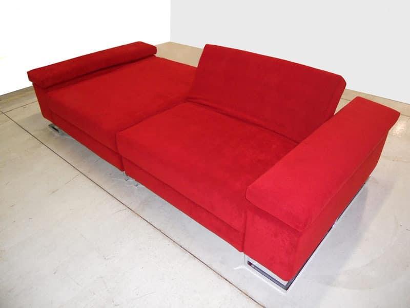 Mago', Sofa ideal for center room, feet in chromed steel